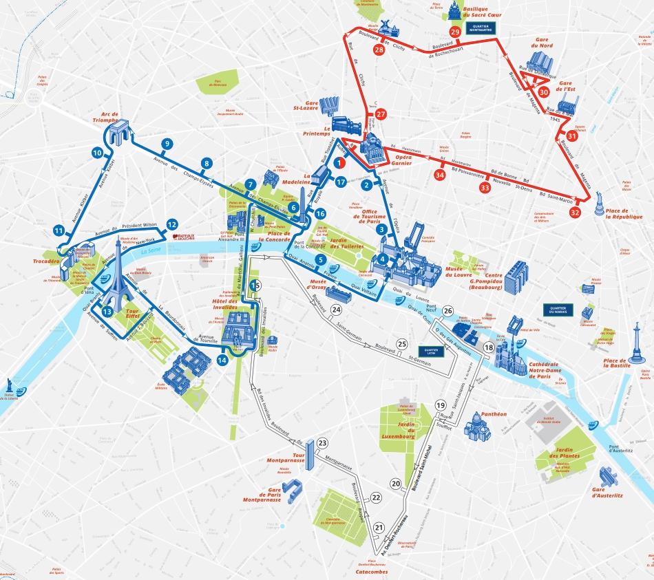 Paris Open Tour Bus Map